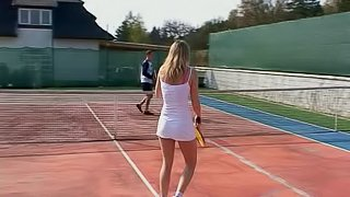 Light-haired teen gets her sex-starved muff thrilled nicely on the tennis court