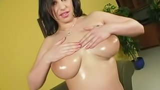 Whitney Stevens oils her big natural tits and gets stunningly fucked