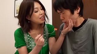 Crafty Japanese milf with natural tits gives her guy an orgasmic blowjob after getting fingered