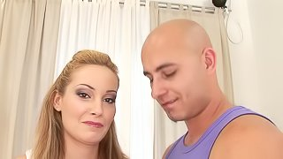 Nessye gets her hairy pussy fucked from behind and smeared with cum
