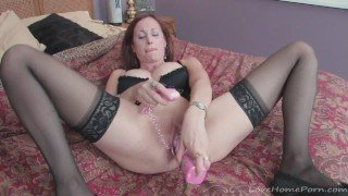 Matured woman gets naughty in her black lingerie