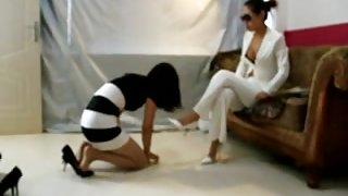 chinese mistress with her couple slave