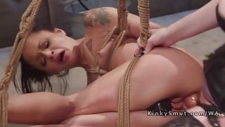 Tied up patient anal banged in lezdom