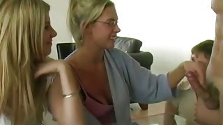 She introduces him to her slutty friends who want cock fast