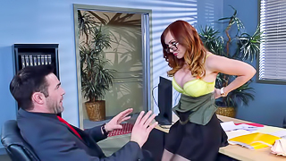 Ginger with sexy glasses loves to have wild sex with boss