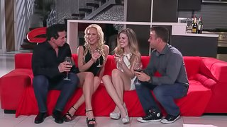 Nadia North and Kendra Lynn have a great time during a threesome
