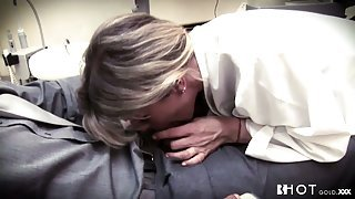 Petite blonde dentists fucking her client wild