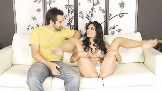 Curly exotic model with big boobs Brenna Sparks fucked on the sofa