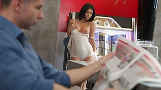 Sweet brunette gets banged with passion