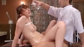 One of the stunning Japanese models getting banged by her masseur