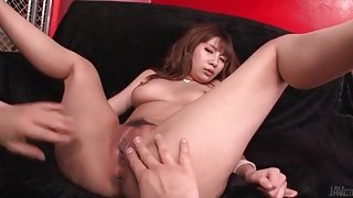 He loves sucking on those sexy Japanese boobs