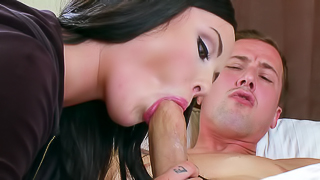 Sexy bitch with black hair is getting her pussy rammed roughly