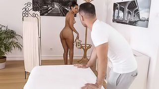 Flexible Latina with big tits Andreina Deluxe fucks with a masseur