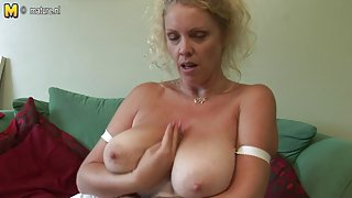 Large titted British mother shows off great rack and