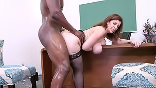 Sara is still ready to take the black pecker deep into her beaver