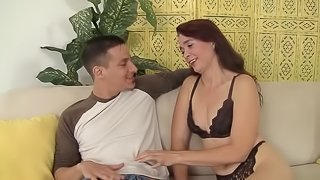 Horny granny gets her mature pussy fucked by this young dick in many positions