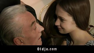 Old man blows young ass and tiny pussy