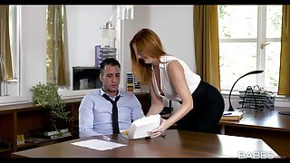 Adorable brunette secretary gets plowed by her horny boss