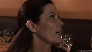 Three marvelous brunette milfs seduce the waiter at the restaurant