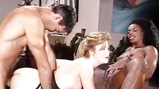 Mauvais DeNoir, Megan Leigh, Mike Horner in interracial sex episode with classic porn stars