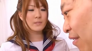 He strips everything off the busty Japanese girl to fuck her