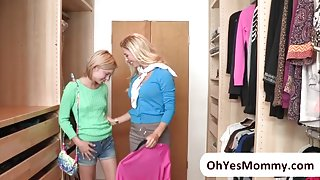 MILF Cherie and Dakota arouse each other and engage in threesome sex
