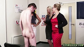 Cfnm babes tug in office