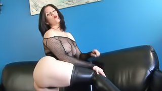Ambitious brunette with natural tits displaying her hot ass before masturbating