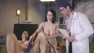 Dark haired ladies fuck the horny doctor together to get him off