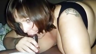 Chubby brunette bitch devouring black hard cock