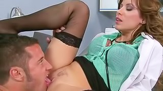 Aleksa Nicole is s slutty lady doctor in white uniform and black stockings. She knows everything about sex therapy. Danny Mountain is her next patient. She takes his dick in her mouth and up her pussy