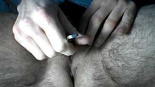FtM cuntboy empties out cunt with spoon and hits his pecker