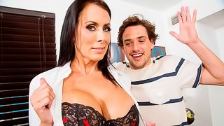 Excited brunette Reagan Foxx gets her hole fucked from behind