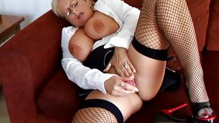 Robyn Ryder hawt solo in fishnets and high heel marital-device