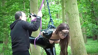Rough BDSM punishment for tied up teen masturbating