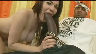 Juicy cunt of a busty brunette pounded by a long black shaft