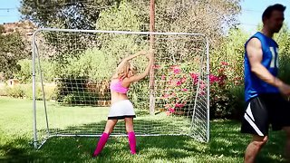 Slutty lacrosse babe with an incredible pair of tits fucks outdoors