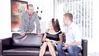 French maid takes on two guys at the same time and loves it
