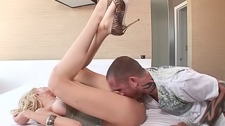 Babes giving huge dick handjob while her pussy in drilled in mmf sex