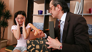TrickyOldTeacher - Horny student girl fucks older teacher and rides cock until he cums on her