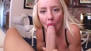 Blonde milf Barbi sucks and deepthroats and gets her holes doggy style fucked
