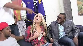 Naturally busty blonde slut gangbanged and facialized by black guys