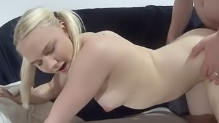 Teen blonde with pigtails fucked hard and creampied
