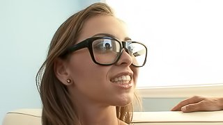 Pretty porn star with glasses getting her shaved pussy licked and fingered