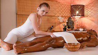 Elegant interracial sex with a white masseuse Lady Bug