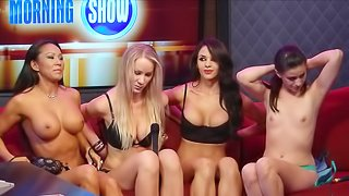 Brunettes with fake tits get body painting