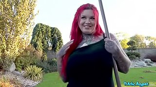 Chubby redhead Sabien DeMonia is getting penetrated for money