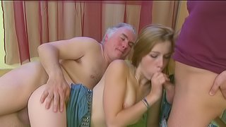 Old fucker is drilling Sindy in her personal room
