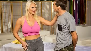 Playful oiled blonde London River opens her crack for a lucky client