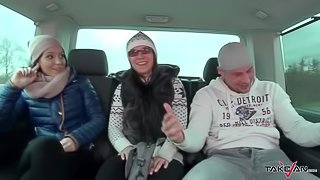 Takevan Wendy Moon convince young brunette to fuck stranger in driving car